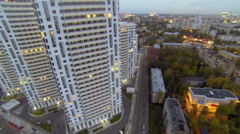 High-rise dwelling houses on Elk island in Moscow Stock Footage