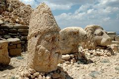 Monumental god heads on mount Nemrut, Turkey - stock photo