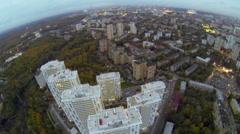 Cityscape with dwelling complex on Elk island Stock Footage