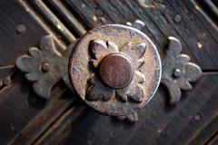 Old metallic decoration motif on a wooden door - stock photo