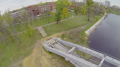 Bridge over Cherkizovsky pond near Palace Stock Footage