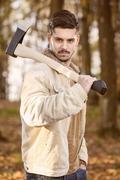 Man with  axe Stock Photos