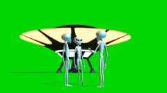 UFO and Aliens sperated on green screen - stock footage