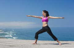 yoga exercises - stock photo