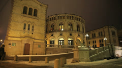 Parliament building of Norway view at night Stock Footage