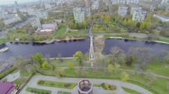 Cityscape with Cherkizovsky pond and stadiums in park Stock Footage
