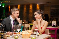 flirting in restaurant - stock photo