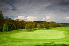 on the green on the golf course in czech republic - stock photo