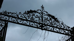 Mansion gate crest on atmospheric day - stock footage