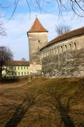 Fortified church with defense wall in Transylvania Stock Photos