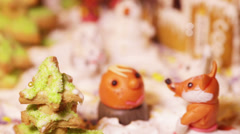 Piece of cake with little animals Stock Footage