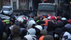 "Strike in Ukraine - real fights with police! Кадры с ""беркутом"". Stock Footage"