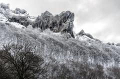 $beautiful winter picture at the rocks on the mountain. covered with snow - stock photo