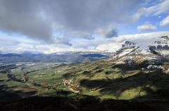 beautiful view over the mountains of navarra in spain. - stock photo