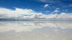 Lake Salar de Uyuni with a thin layer of water, Bolivia Stock Footage