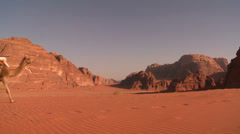 A camel train passes directly over the camera in the Saudi desert of Wadi Rum, Stock Footage