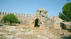 Byzantine church old ruin in Alanya fortress, Turkey Stock Footage