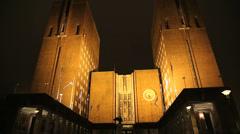 City Hall Oslo Norway night view Stock Footage