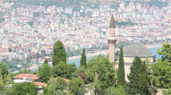 Landscape, castle and town of Alanya, high angle view Stock Footage