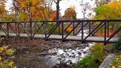 Autumm bridge Stock Footage