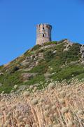 Ancient genoese tower at the Sanguinaires islands, in Corsica (France) - stock photo