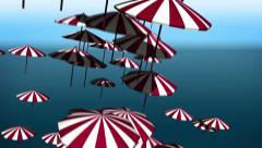 falling umbrellas - stock footage