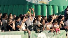 Crowd clapping hands up - stock footage
