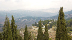 View from above on Jerusalem and green hills, Israel Stock Footage