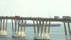 Big ship passing under the brige 3 Stock Footage