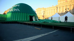 Stock Video Footage of Inflation tent. Installation site for the event
