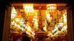 Golden lantern shop at night,tourist sketch,shanghai china. Stock Footage