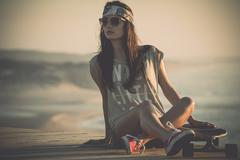 skater girl - stock photo
