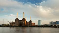 Battersea Power Station Time Lapse, Panning - stock footage