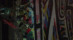 092 Berlin, East side gallery, Urban style, the wall at night, close-up locks - stock footage