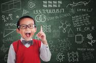 Stock Illustration of asian boy student has idea in class
