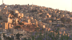 A wide shot of neighborhoods near Amman, Jordan. - stock footage