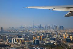 view from the aircraft to the dubai - stock photo