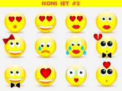 Icons smile set Stock Illustration
