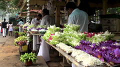 Flowers market near Buddhist Temple Stock Footage