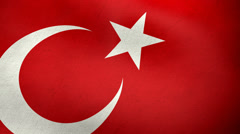 Turkish flag waving background loop Stock Footage
