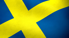 Swedish flag waving background loop Stock Footage