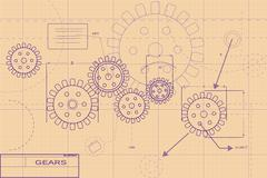 Stock Illustration of purple blueprint layout illustration