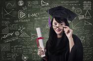 Stock Illustration of asian female graduate in class with certificate