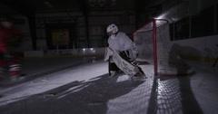 Team Sport - Ice Hockey - Goalie Big Save Stock Footage