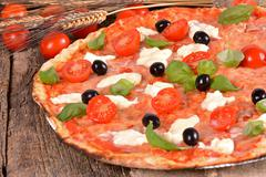italian pizza with mozzarella - stock photo