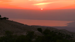 A beautiful sunset behind the Dead Sea in Jordan. Stock Footage