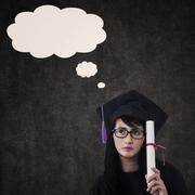 Pensive female graduate with blank cloud Stock Illustration