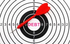Stock Photo of debt target concept