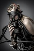 toxic, gas mask, female model, evil, blind, fallen angel of death - stock photo