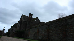 Littlecote House with gloomy sky (dolly) Stock Footage